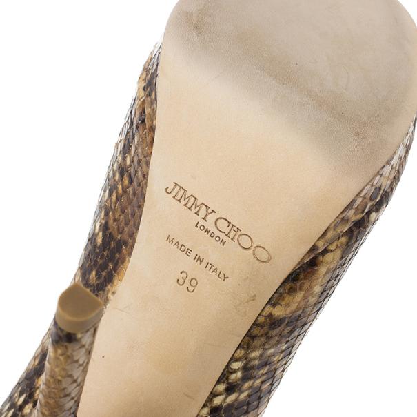 Jimmy Choo Tan Snakeskin Embossed Glint Peep Toe Ankle Booties Size 39