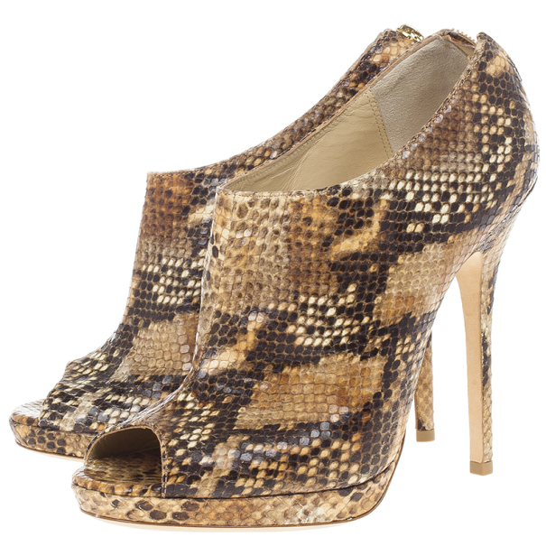 Jimmy Choo Tan Snakeskin Embossed Glint Peep Toe Ankle Booties Size 39