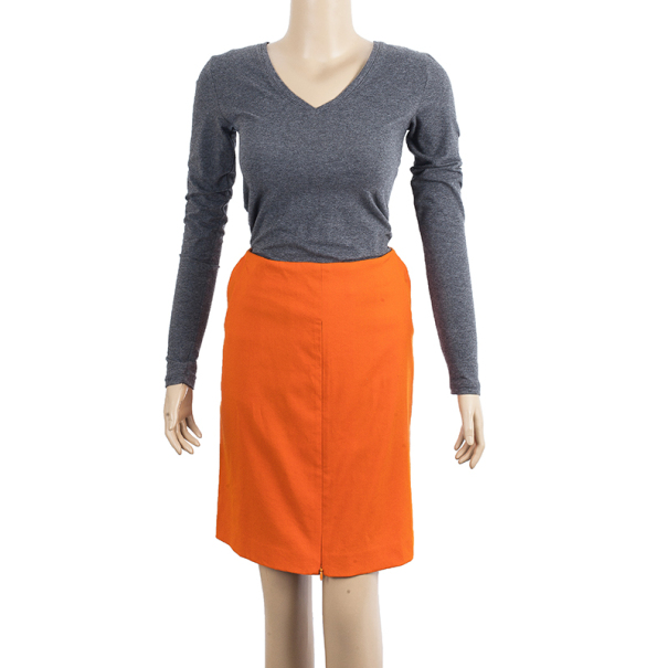 Diane Von Furstenberg Orange Belted Delion Skirt S