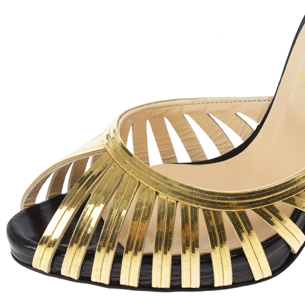 Christian Louboutin Gold and Black Corpus D'orsay Pumps Size 39