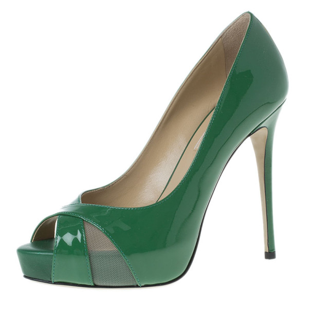 Valentino Green Patent Peep Toe Pumps Size 37