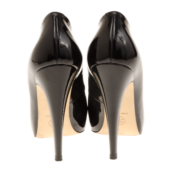Chanel Black & White Patent CC Cap Toe Pumps Size 37