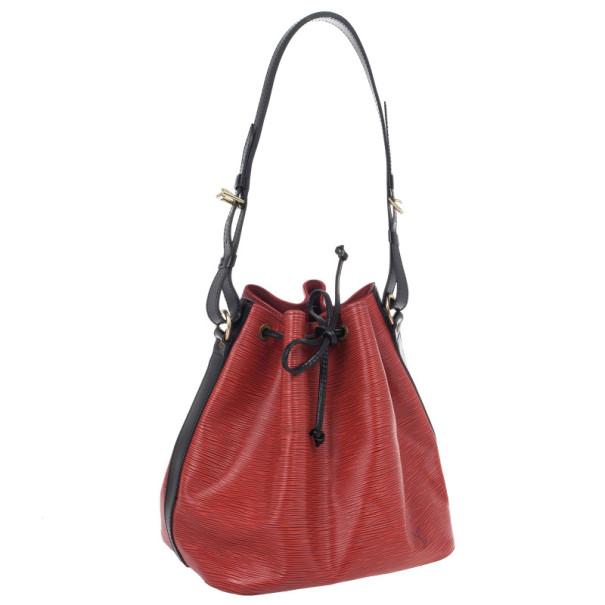 Louis Vuitton Red Epi Noe Shoulder Bag