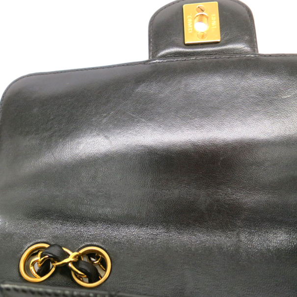 Chanel Black Lambskin Leather With Gold Hardware Single Flap Bag