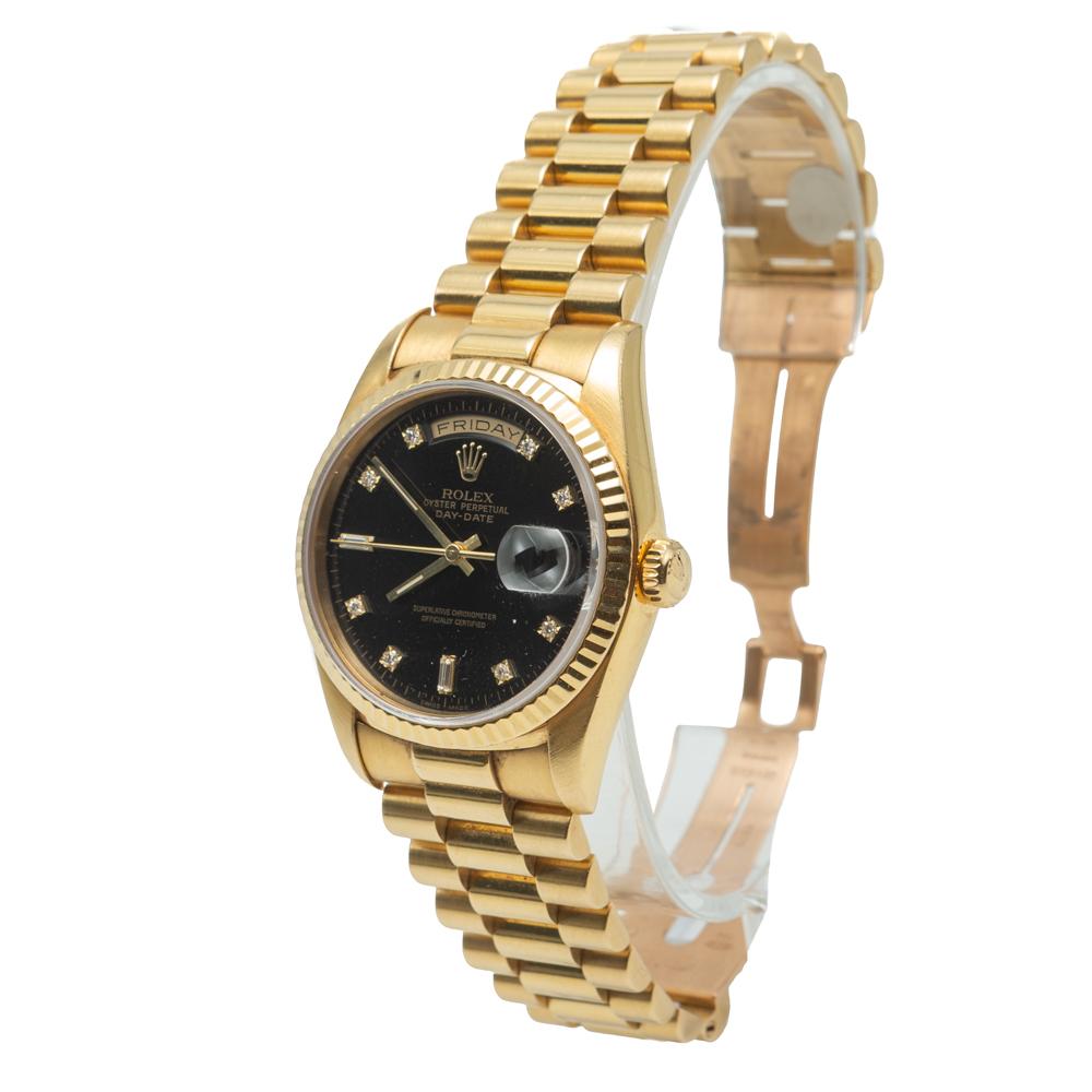 Rolex Day-Date President Yellow Gold Black Diamond Dial Watch 36MM