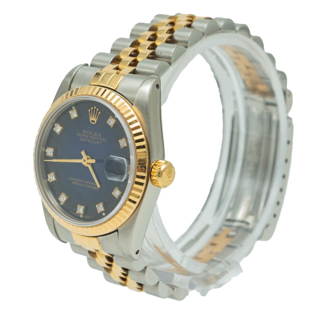 Rolex Date-Just Steel & Yellow Gold Blue Diamond Dial Watch 31MM
