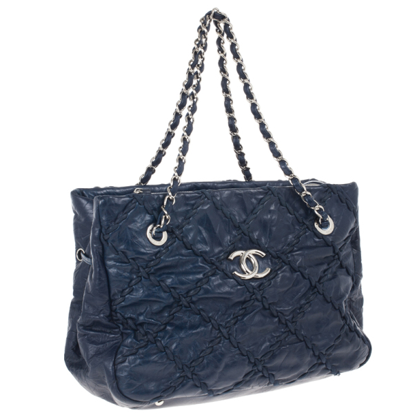 Chanel Blue Bubble Quilted Tote