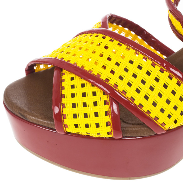Dolce and Gabbana Red and Yellow Fluo Wedge Platform Sandals Size 37