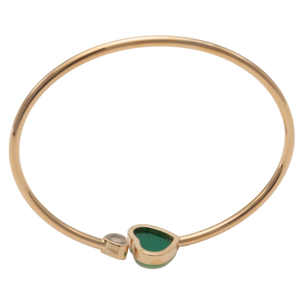 Chopard Happy Hearts Green Agate Rose Gold Diamond Bracelet Size Medium