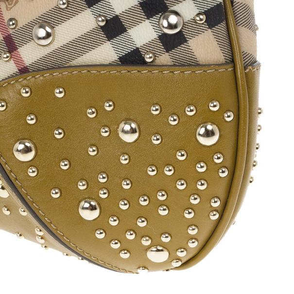 Burberry Haymarket Mustard Hackford Studded Handbag