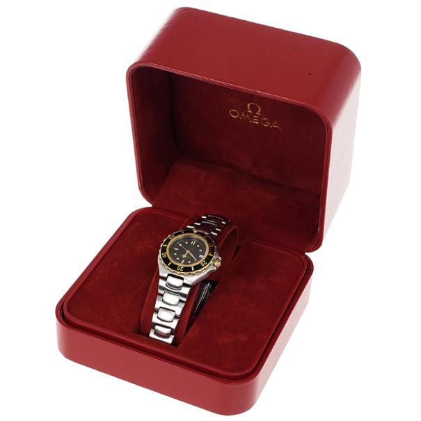 Omega Black Stainless Steel Seamaster Women's Wristwatch 26MM