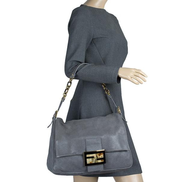Fendi Grey Shimmer Soft Calfskin Forever Big Mama Shoulder Bag