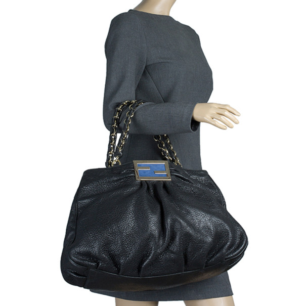 Fendi Black Calfskin Large Mia Shopper Tote