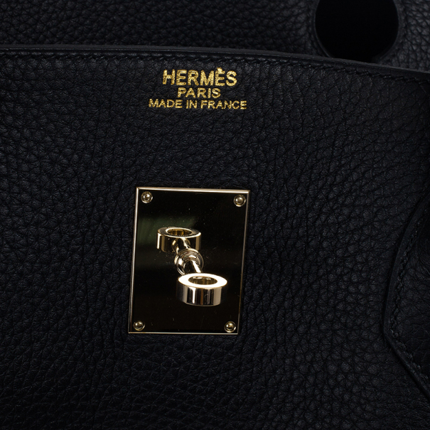 Hermes Noir Togo Calfskin Gold Hardware Birkin 50