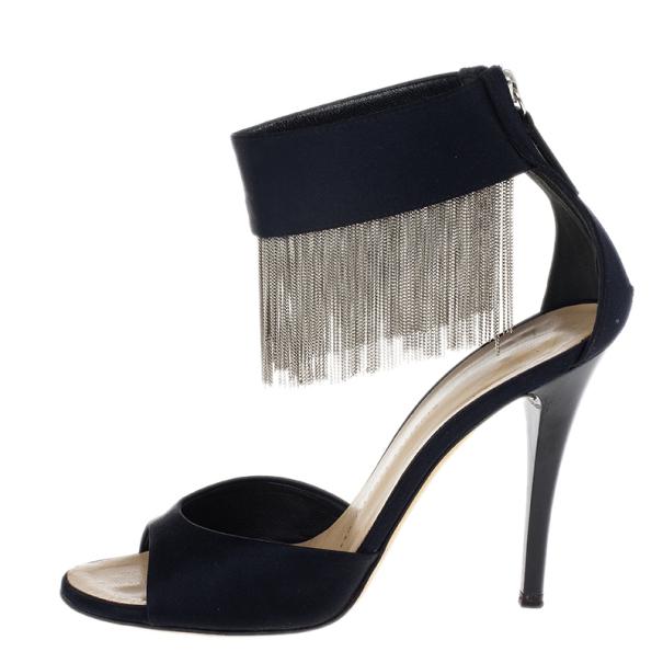 Giuseppe Zanotti Black Open Toe Ankle Strap Sandals Size 36.5