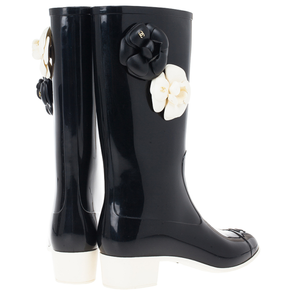 Chanel Camellia Rubber Rain Boots Size 39