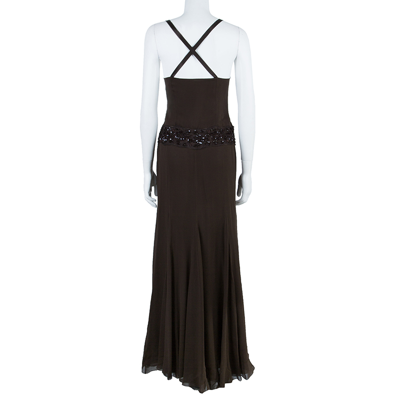 Valentino Brown Embellished Gown M