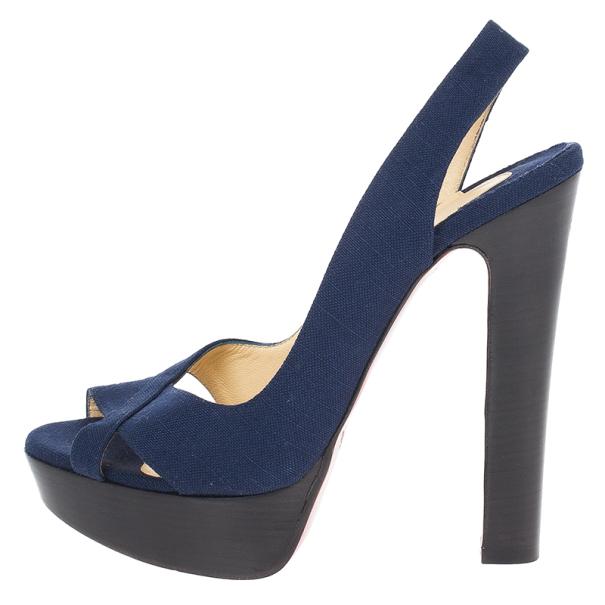 Christian Louboutin Soso Navy Blue Slingback Sandals Size 38