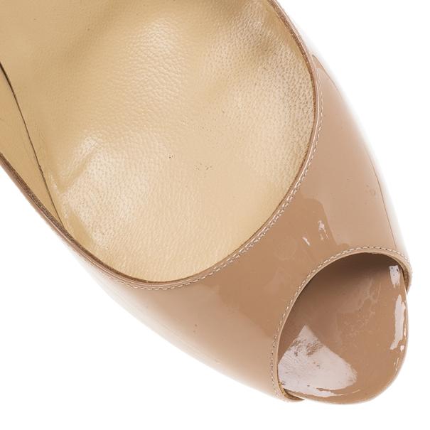 Christian Louboutin No Matter Nude Patent Peep Toe Pumps Size 38.5