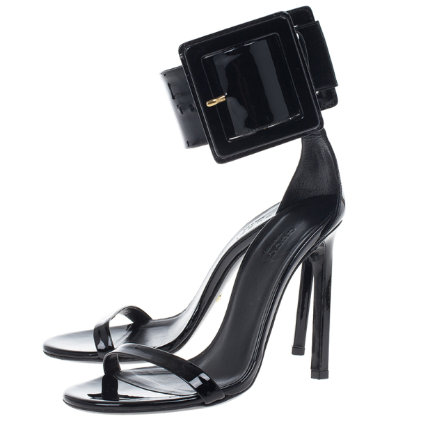 Gucci Black Buckled Patent Leather Sandals Size 36