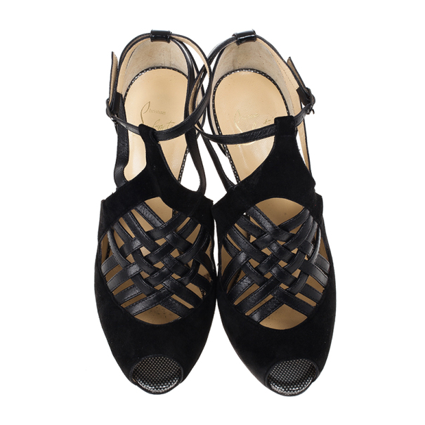 Christian Louboutin Carlota Leather and Suede Sandals 39