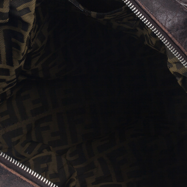 Fendi Brown Leather Spy Hobo Bag