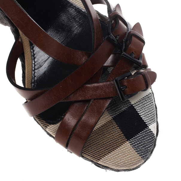 Burberry Canvas Check Wedge Espadrilles Size 41