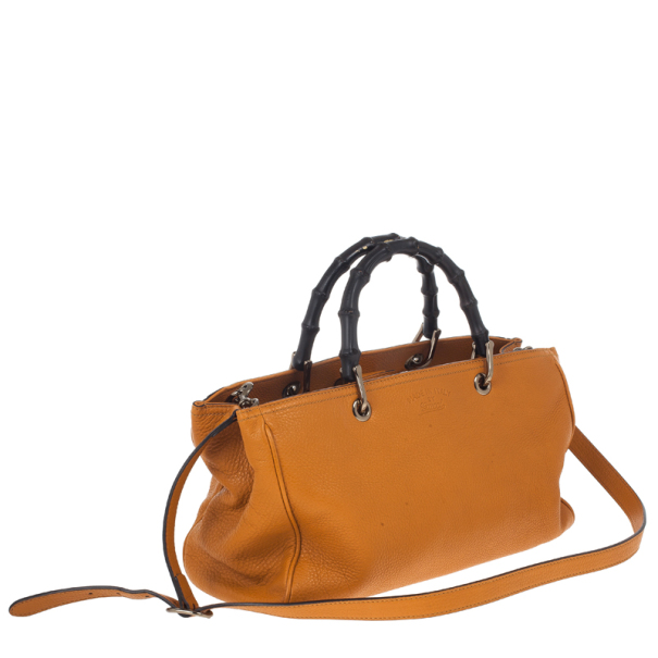 Gucci Orange Bamboo Shopper Leather Tote