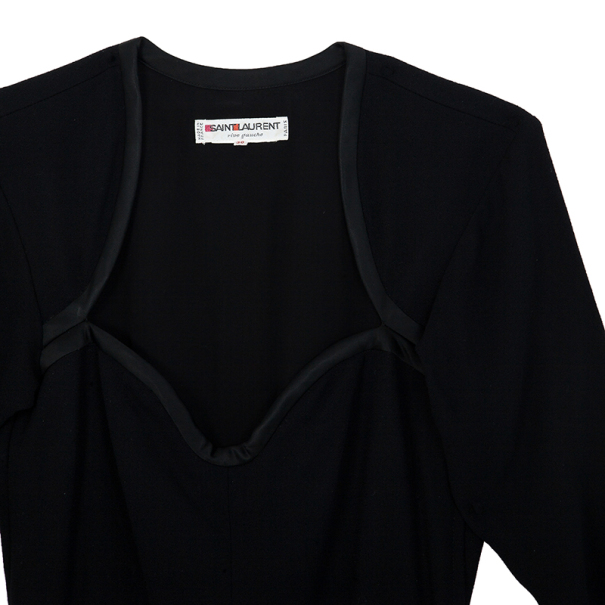 Saint Laurent Black Stretch Long Sleeve Dress M