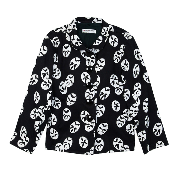 Saint Laurent Paris Black Vintage Monochrome Print Jacket M