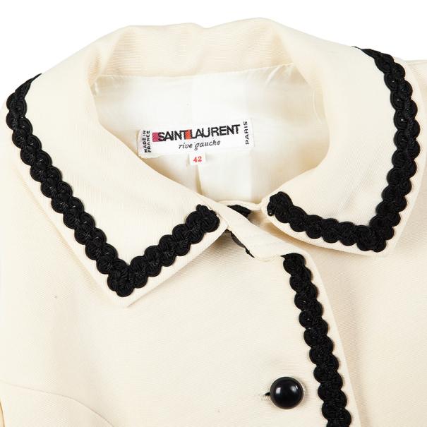 Saint Laurent Cream Vintage Jacket With Black Trimming L