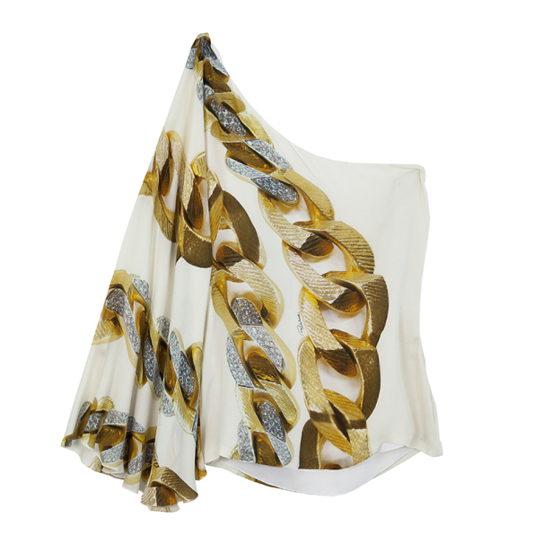 Roberto Cavalli White One Shoulder Printed Top L