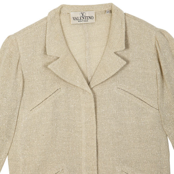 Valentino Linen Cream Skirt Suit L