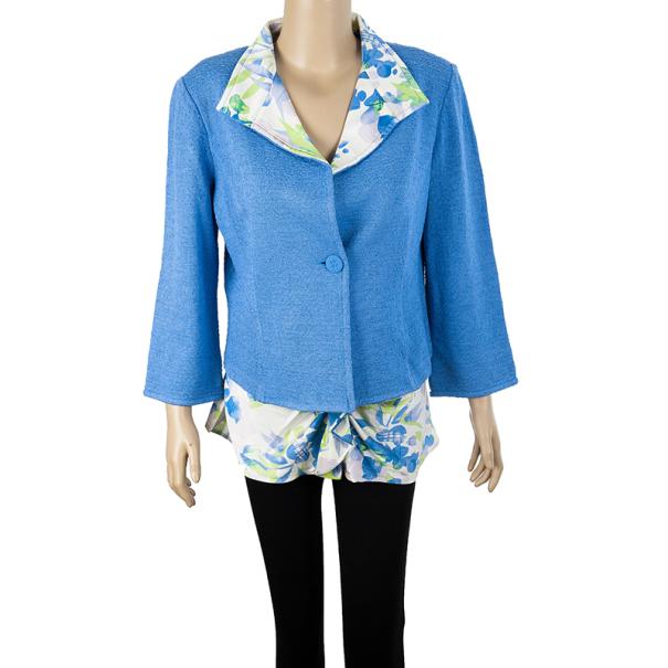 St. John Floral Print Collar Jacket L