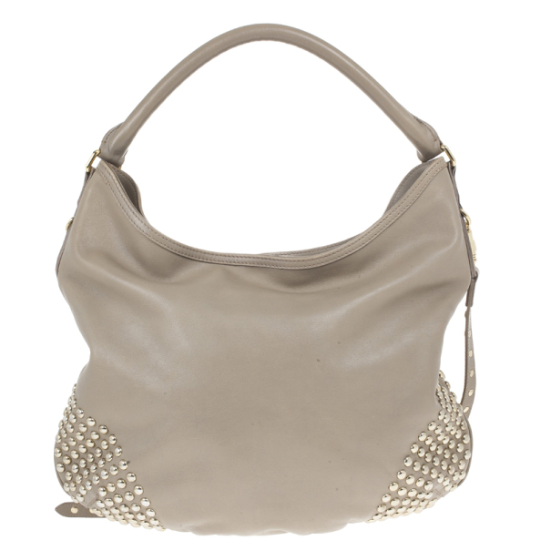 Burberry Medium Leather Corner Studded Hobo Bag