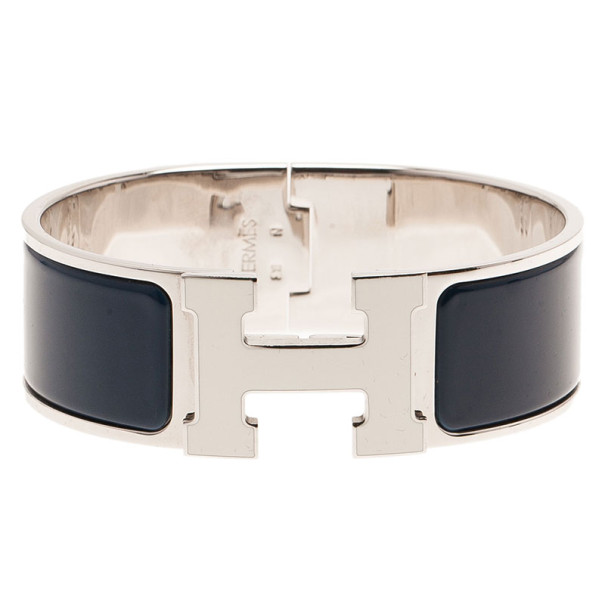 Hermes Clic Clac H Wide Blue Enameled White H Palladium Plated Bracelet PM