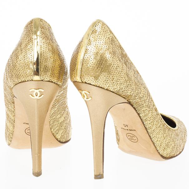 Chanel Gold Sequins Pumps Size 40