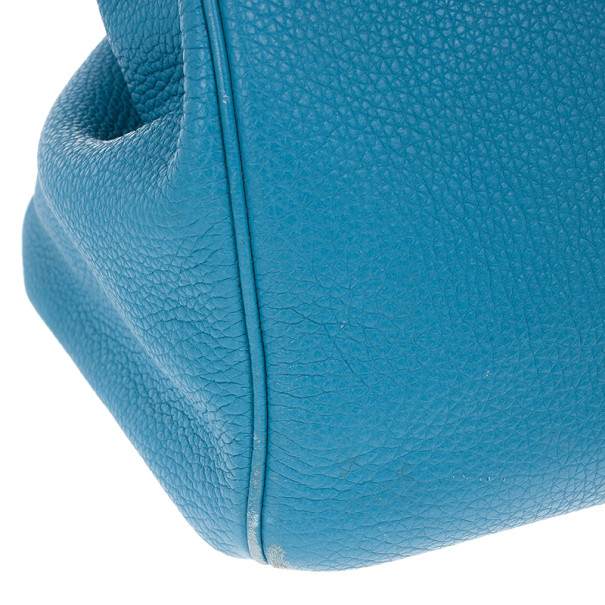 Hermes Azur Blue Buffalo Calfskin Leather Birkin 40CM