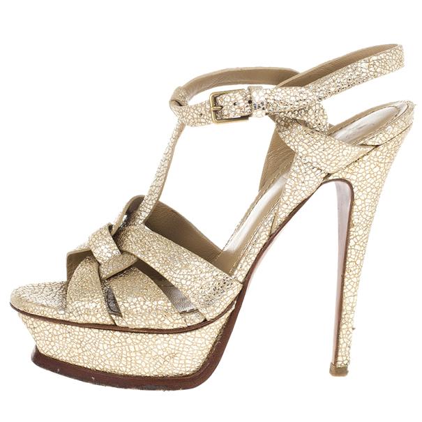 Saint Laurent Paris Gold Metallic Embossed Tribute Sandals Size 37