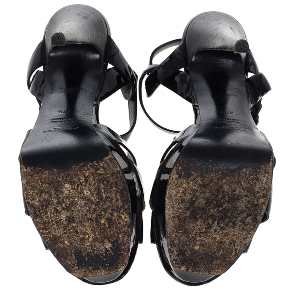Saint Laurent Paris Black Patent Tribute Sandals Size 37.5