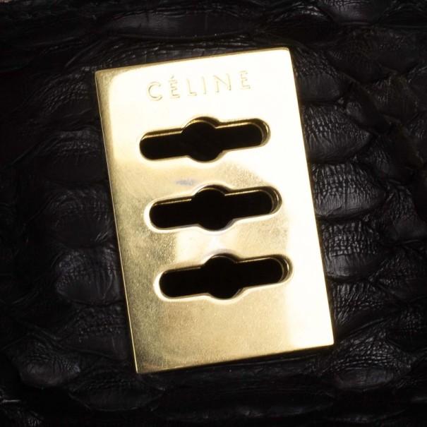 Celine Black Python Hobo