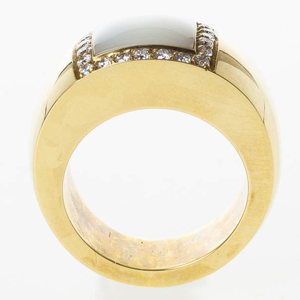 Pasquale Bruni Mother of Pearl Yellow Gold Band Ring Size 55