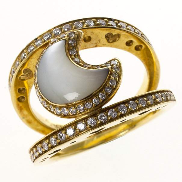 Pasquale Bruni Mother of Pearl Moon Ring Size 53