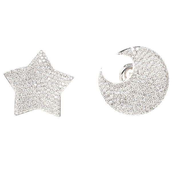 Pasquale Bruni Moon and Star Diamond Earrings