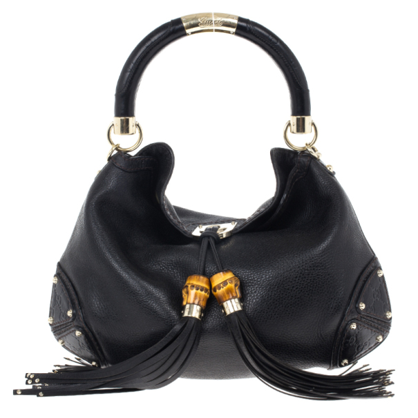 Gucci Black Leather 'Indy' Tassel Large Hobo