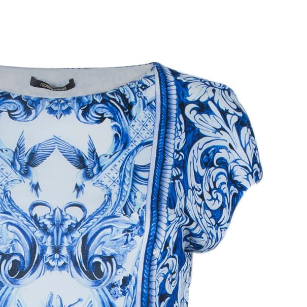 Roberto Cavalli Blue Printed Stretch Dress M