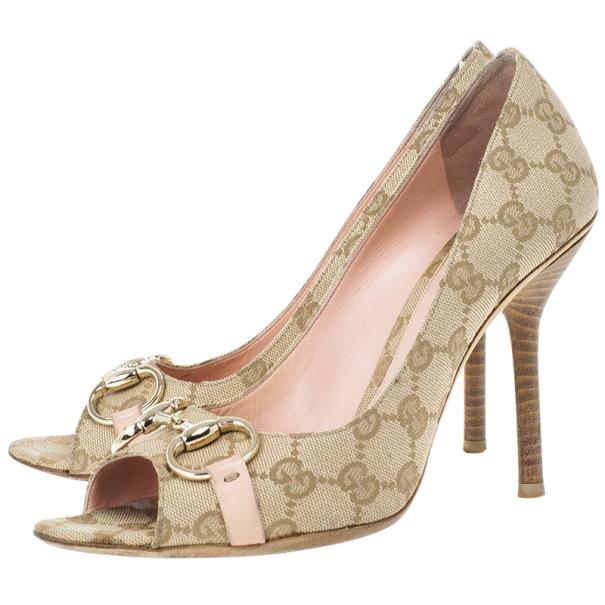 Gucci Guccissima Canvas Horsebit Peep Toe Pumps Size 39