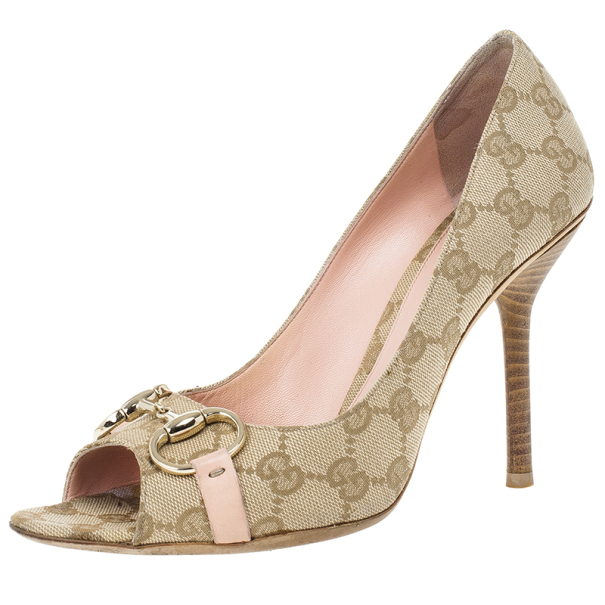 Gucci Guccissima Canvas Horsebit Peep Toe Pumps Size 39