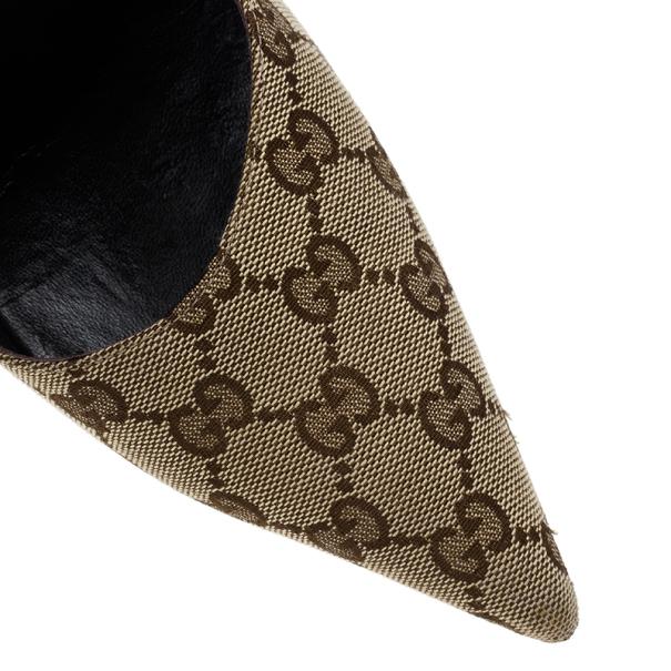 Gucci Guccissima Canvas Malibu Bamboo Heel Pumps Size 39