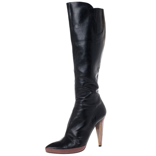 Miu Miu Black Leather Knee Boots Size 40